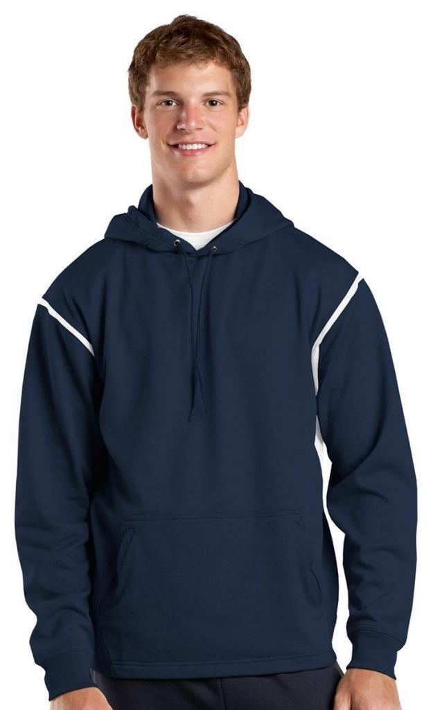 Sport-Tek Tall Tech Fleece Colorblock Hooded Sweatshirt LT True Navy/White by Sport-Tek