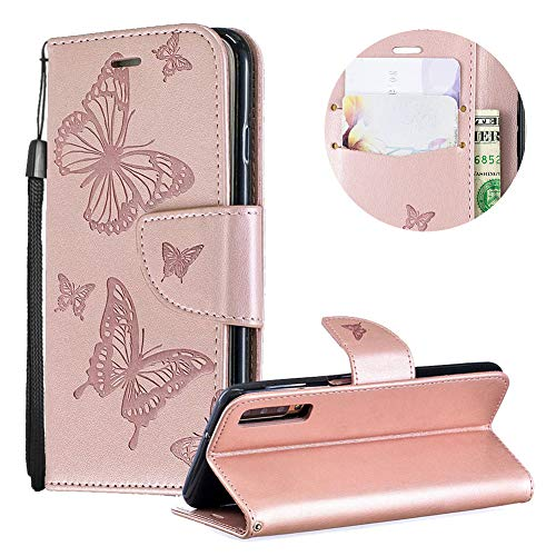 Samsung Galaxy A7 2018 Case,PU Leather Wallet Case for Samsung Galaxy A7 2018,Moiky Luxury Rose Gold Butterfly Pattern Embossed Soft Leather Purse Flip Stand Shockproof Case Cover with Card Slots - Gold Lip Embossed Inner