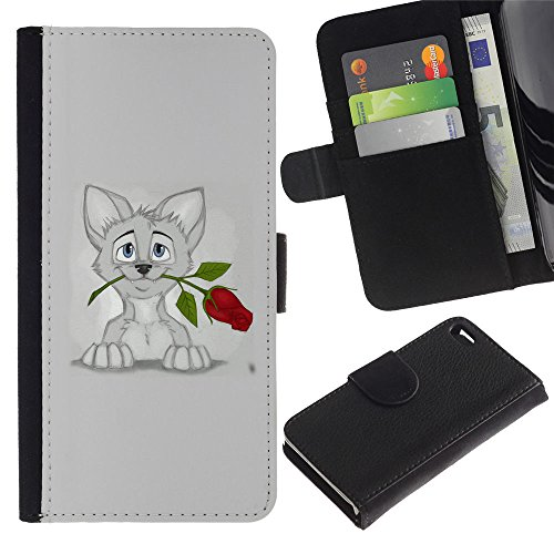 OMEGA Case / Apple Iphone 4 / 4S / sweet cat kitten grey art drawing rose / Cuir PU Portefeuille Coverture Shell Armure Coque Coq Cas Etui Housse Case Cover Wallet Credit Card