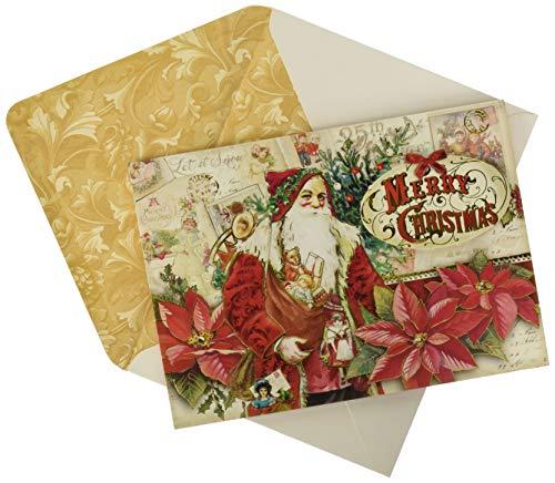 Punch Studio Santa Memories Dimensional Holiday Greeting Cards - Set of 12 (42618) ()