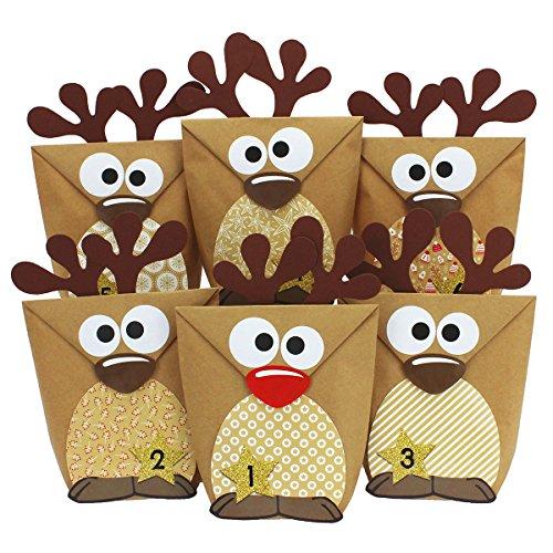 Papierdrachen DIY Advent Calendar - Reindeer Brown – Advent Calendar for Making and Filling