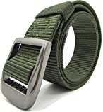 Gozillon Army Green Belt for Men Military Tactical Belt Buckle Nylon Web Belt 1.5'' Wide