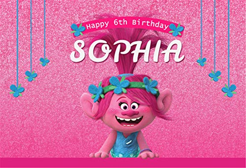 Hot Pink Sequins Backdrop Background for Photography 7x5 Trolls Themed Customized Name Backdrops for Girl Birthday Party ()