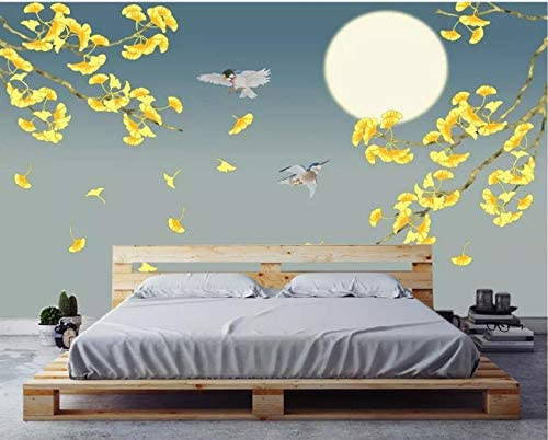 Photo Wallpaper Custom Aesthetic Concept Hand Painted Ginkgo Leaf Moon Night Flowers And Birds Background Wall 350x250cm