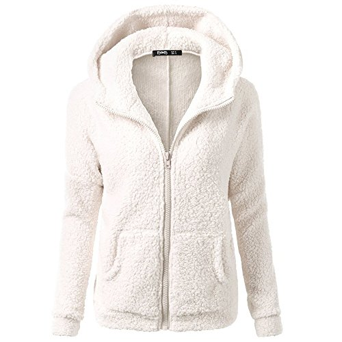 Womens Jacket Sale,KIKOY Winter Warm Wool Hooded Zipper Cotton Coats Outwear White