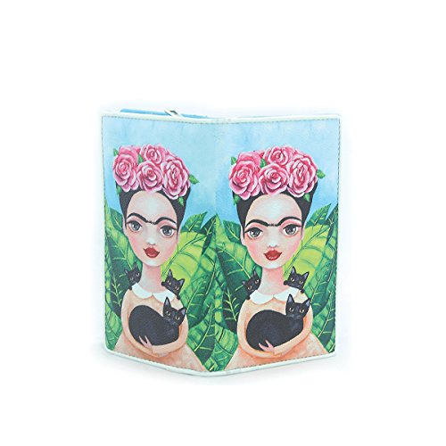 - Ashley M - Unibrow Girl with Cat Wallet in Vinyl Material