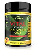 Vital Ultimate Pre Workout for Men and Women with Organic Endurance Booster. Cleanest, Non-Habit Forming with Creatine, Beta Alanine, Mango-Peach Flavor, 30 Servings, 700 grams