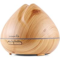 Easehold 400ml Essential Oil Diffuser Humidifier Air Purifier Ultrasonic Cool Mist 7 LED Lights Wood Grain Finish Peach Shape(Yellow)