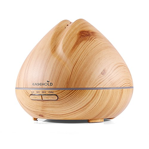 Easehold 400ml Essential Oil Diffuser Air Humidifier Purifier Cool Mist Ultrasonic Tech Super Quiet 7 Soothing LED Mood Lights Wood Grain Finish Peach Shape(Yellow) (Air Humidifier Quiet compare prices)