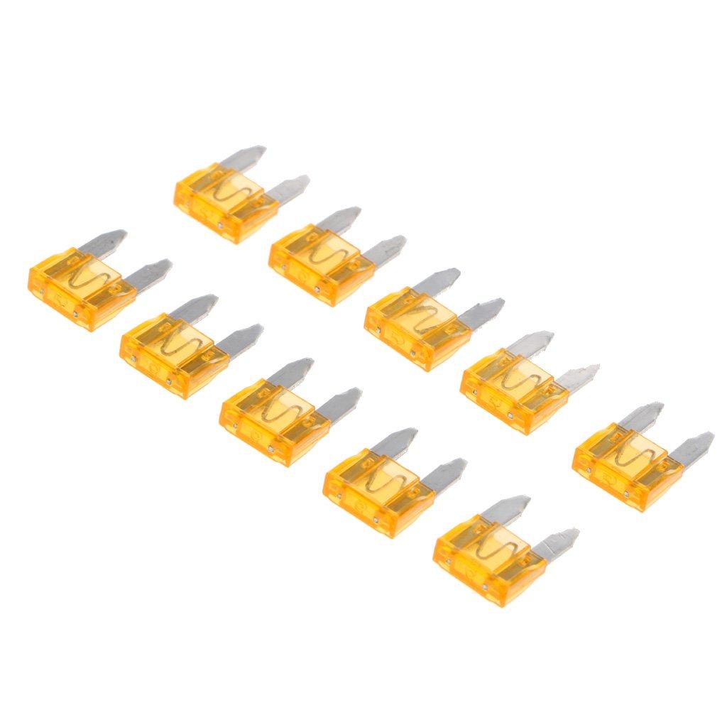 MagiDeal 10 Piezas Mini Kit de Surtido de Fusibles de Cuchillas para Camiones Coches - Amarillo 5A