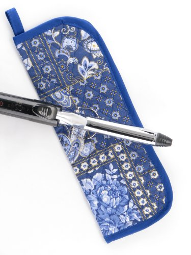 Heat-resistant Curling Iron Cover - Blue Paisley Floral