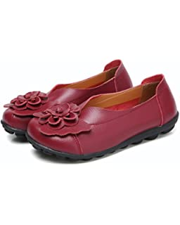bc51484d2716 Women's Genuine Leather Soft Comfortable Flat Loafers Handmade Casual Shoes  Red