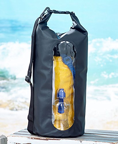 The Lakeside Collection nod Waterproof 20 Liter Black Dry Bag with Adjustable Strap and Snap Buckle and Heavy Duty Vinyl