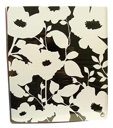 "Carolina Pad Studio C 1"" O-Ring Vinyl Binder with Pockets ~ Fashionista (White Flowers on Black; 10"" x 11. 5"")"