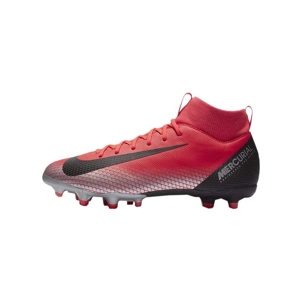 Nike JR SFLY 6 Academy GS CR7 FG/MG Boys Soccer-Shoes AJ3111-600_6Y - Bright Crimson/Black-Chrome-Dark Grey