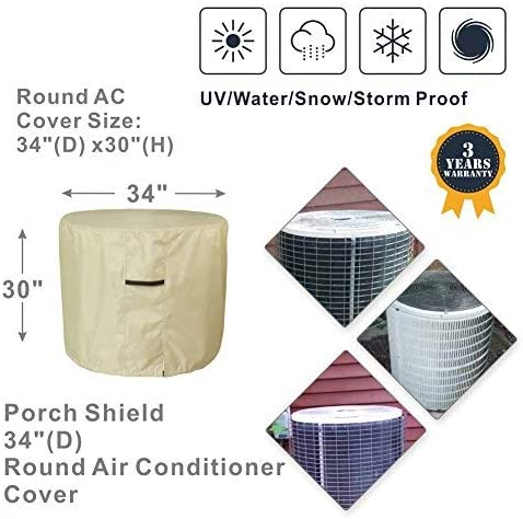 Porch Shield Air Conditioner Covers for Outside Units – Waterproof 600D Heavy Duty Round AC Cover Tan – 34D inch