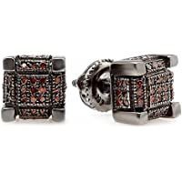 0.25 Carat (ctw) Black Rhodium Plated Sterling Silver Mens Hip Hop Cube Stud Earrings 1/4 CT