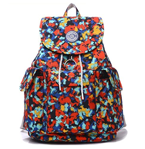Large Water Resistant Nylon Backpack Purse Lightweight Outdoor Travel Daypack for Women Cycling Hiking Camping Casual Drawstring School Bag for Girls (Cube) by Big Mango
