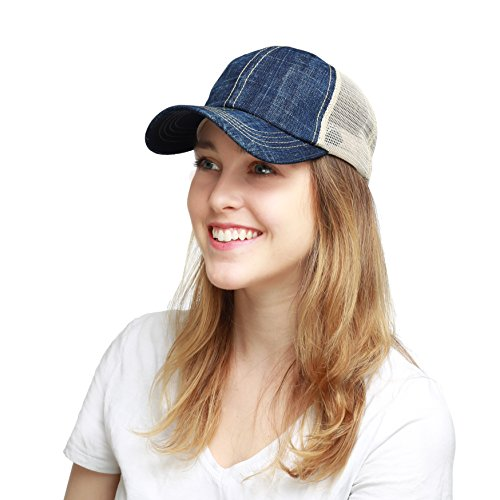 THE HAT DEPOT Low Profile Pigment-Dyed Cotton Mesh Cap (Denim) (Pigment Mens)