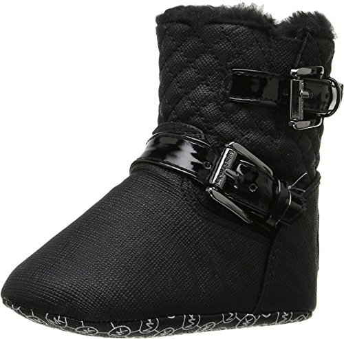 MICHAEL Michael Kors Kids Baby Girl's Baby Harmony (Infant/Toddler) Black Shimmer Saffiano - Children's Boots Michael Kors