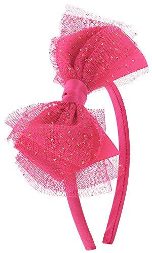 Capelli New York Girl's Satin Headband w/ Mesh Ribbon Glitter Dot Bow Fuchsia No Sz New York Satin Bow
