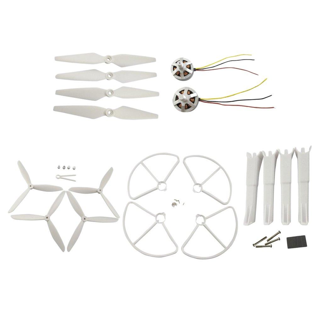 Baoblaze 4x Eliche+2xMotore+4x Attrezzo Di Atterraggio+4x Copertura Guardia+4x Elica 3 Lama Per Mjx B2w Rc Quadcopter Drone Aerei - bianca