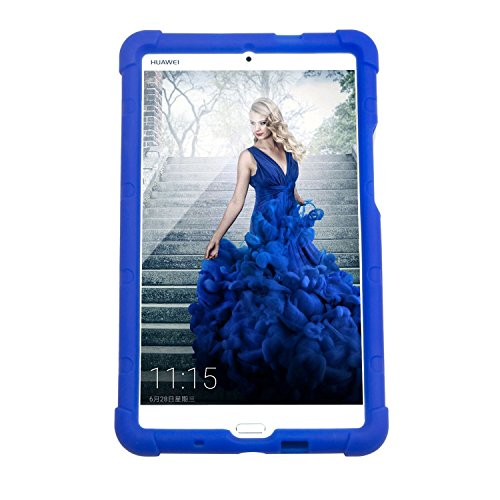 MingShore Huawei MediaPad M3 Tablet Case 8.4 Inch With handstrap Model BTV-DL09 BTV-W09 Silicone Cover BLUE (Huawei Mediapad Case)