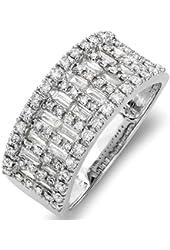 1.00 Carat (ctw) 14k White Gold Round & Baguette Diamond Ladies Anniversary Wedding Band Ring 1 CT