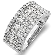 1.00 Carat (ctw) 14k White Gold Round & Baguette Diamond Ladies Anniversary Wedding Band Ring 1 CT