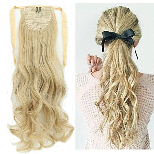 Binding Tie up Synthetic Ponytail Heat Resistant One Piece Drawstring Pony Tail Long Wavy Curly Soft Silky for Women Lady Girls 18'' / 18 inch (ash blonde mix bleach