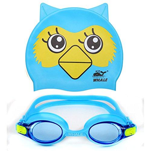 Age Cap (Kids Swim Goggles + Swimming Cap(Age 2-12),Anti-fog UV Protection Goggles for Kids,Silicon Animal Owl Design Kids Swimming Cap)