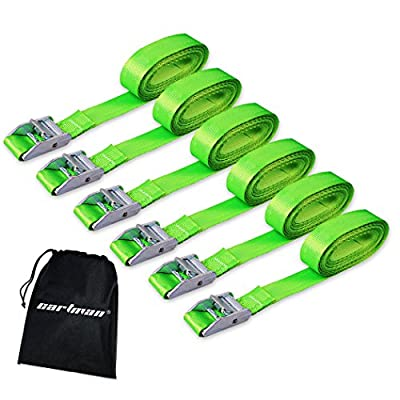 CARTMAN Lashing Straps up to 600lbs, 6pk in Carry Bag, Green Color: Automotive