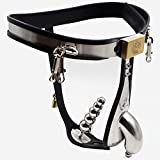 Tomox Male Chastity Belt Stainless Steel T Type with Removable Anal Bead Plug Slave Lockable Penis Bondage Device(1pc)