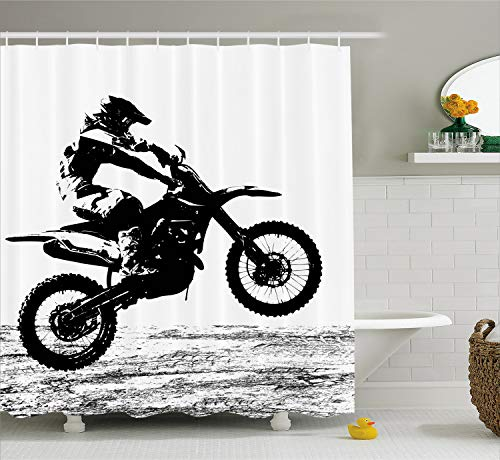 Lunarable Dirt Bike Shower Curtain, Rider Participating Motocross Championship Silhouette Image Dangerous Sports, Cloth Fabric Bathroom Decor Set with Hooks, 84 Inches Extra Long, White Black (Bike Cloths Dirt)