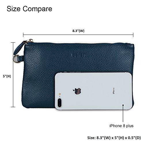 Ocean 7 Wristlet for 4 Wristlet iPhone Wallet Befen 8 Women Note 6s Clutch Purse Gray plus Minimalist Genuine 6 Blue Leather 5 Samsung BUPnRU