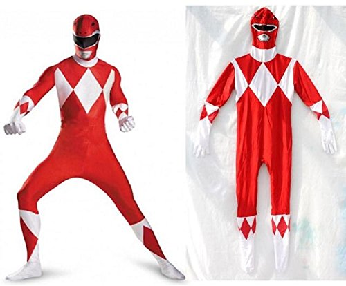 [Horries Halloween Power Rangers Cosplay Red Zentai Costume] (Kickass Costume Cosplay)