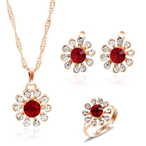 Astral Romantic Charming Crystal Flower Earrings Necklace Ring Golden Color Jewelry Set 3Pcs/Set