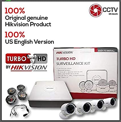 Hikvision 8 CH DVR Kit 4 Bullet Cameras 2MP Turbo HD 2.8mm Lens CMOS 1080P