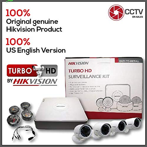 Hikvision 8 CH DVR Kit 4 Bullet Cameras 2MP Turbo HD 2.8mm Lens CMOS 1080P CCTV Security System, Power Supply 5A, 4 HD Pre-made Siamese Cables 60FT, 1To5 Male Splitter Included, Mobile App Hik-Connect