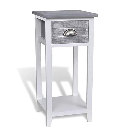 vidaXL Table de Chevet 1 Tiroir Gris Blanc Chambre à Coucher Table de Nuit