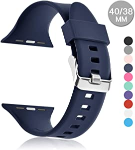 Compatible with Apple Watch Sports Band Series 4 (44mm, 40mm) Series 3 Series 2 Series 1 (42mm, 38mm) | Soft Silicone Replacement Band (Midnight Blue, 40mm/38mm)
