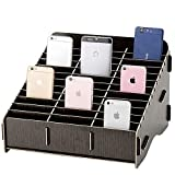 Loghot Wooden 36 Storage Compartments Multifunctional Storage Box for Cell Phones Holder Desk Supplies Organizer (Black)