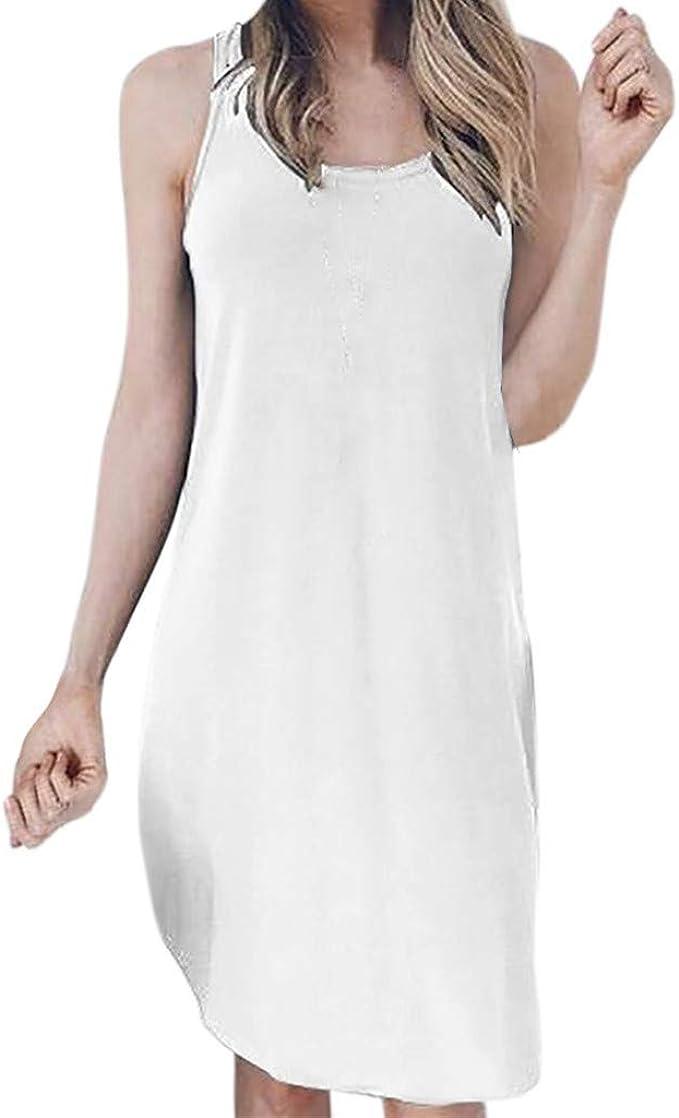 Wihoo - Vestido de Mujer con Espalda Desnuda, Color Liso y Largo ...
