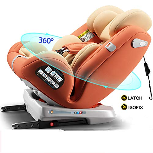 MROSW Baby Car Seat for Child, Group 0+/1/2/3 (0-36 Kg/0-12 Year), Reclining Car Seat, 2 Layer Impact Protection, Top Tether Rotation 360°,Orange