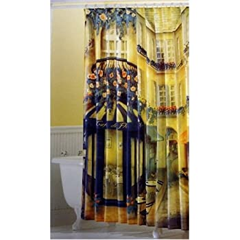 Paris French Cafe Scene Fabric Shower Curtain