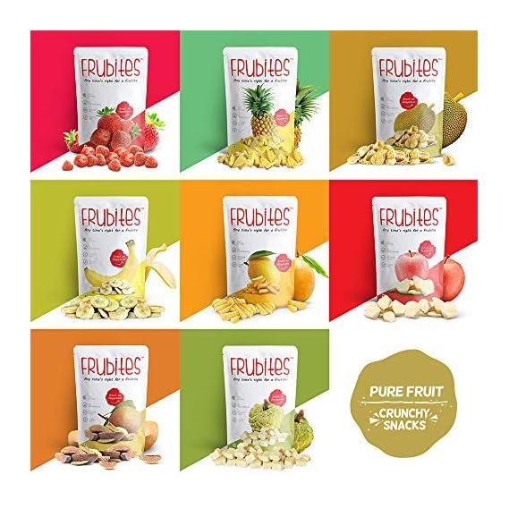 Frubites Fruity Combo | 100% Pure Fruit Snack for Kids | 100% Natural, Vegan, No Preservatives, Clean Label | 8 Yummy & Crunchy Fruits (8 Packs, 148 GMS)