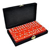 Marion Domino Double 6 Red Tiles Jumbo Tournament Size w/Spinners