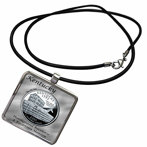 3dRose Bob Kane Photography Coins - State Quarter Kentucky - Necklace with Rectangle Pendant (ncl_120129_1)