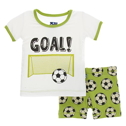 Ball Short Pajamas - Kickee Pants Little Boys Print Short Sleeve Pajama Set with Shorts, Meadow Soccer, 4T