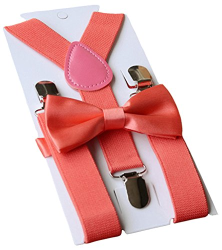 UDRES Unisex Kid Boys Girls Adjustable Bow tie & Suspender Sets (One Size, Watermelon Red) (Watermelon Bow Tie)